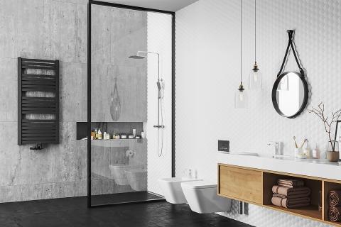grzejnik stalowy łazienkowy w kolorze podłączenie środkowe