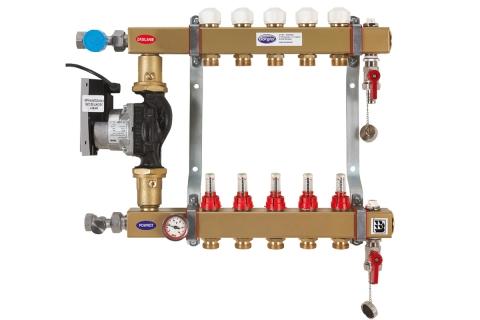 Układ mieszający RS-PTMe z pompą ogrzewanie podłogowe rozdzielacz stalowy układ podmieszania ukłąd pompowy GORGIEL