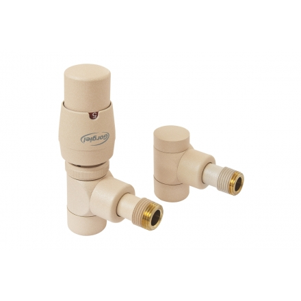 Supply valve with thermostatic head and return valve in colour Quartz 1